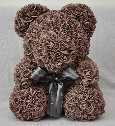 Мишка из роз CG Bear Flowers BB4 Coffee