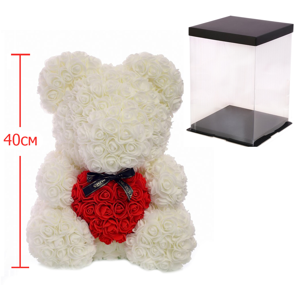 Мишка из роз c сердцем 40см M+ Bear Flowers M+ B2 White