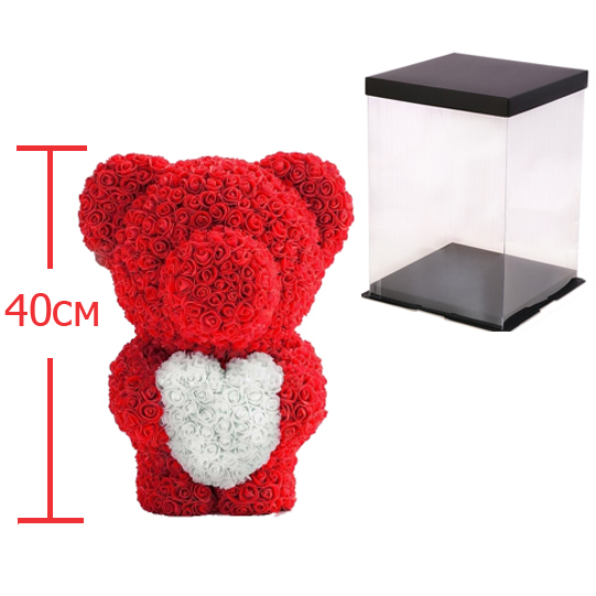 Мишка из роз c сердцем 40см M+ Bear Flowers M+ BS2 Red